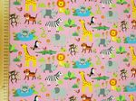 Jungle material pink background - Jersey Fabric 95% Cotton 5% Spandex - Price Per Metre
